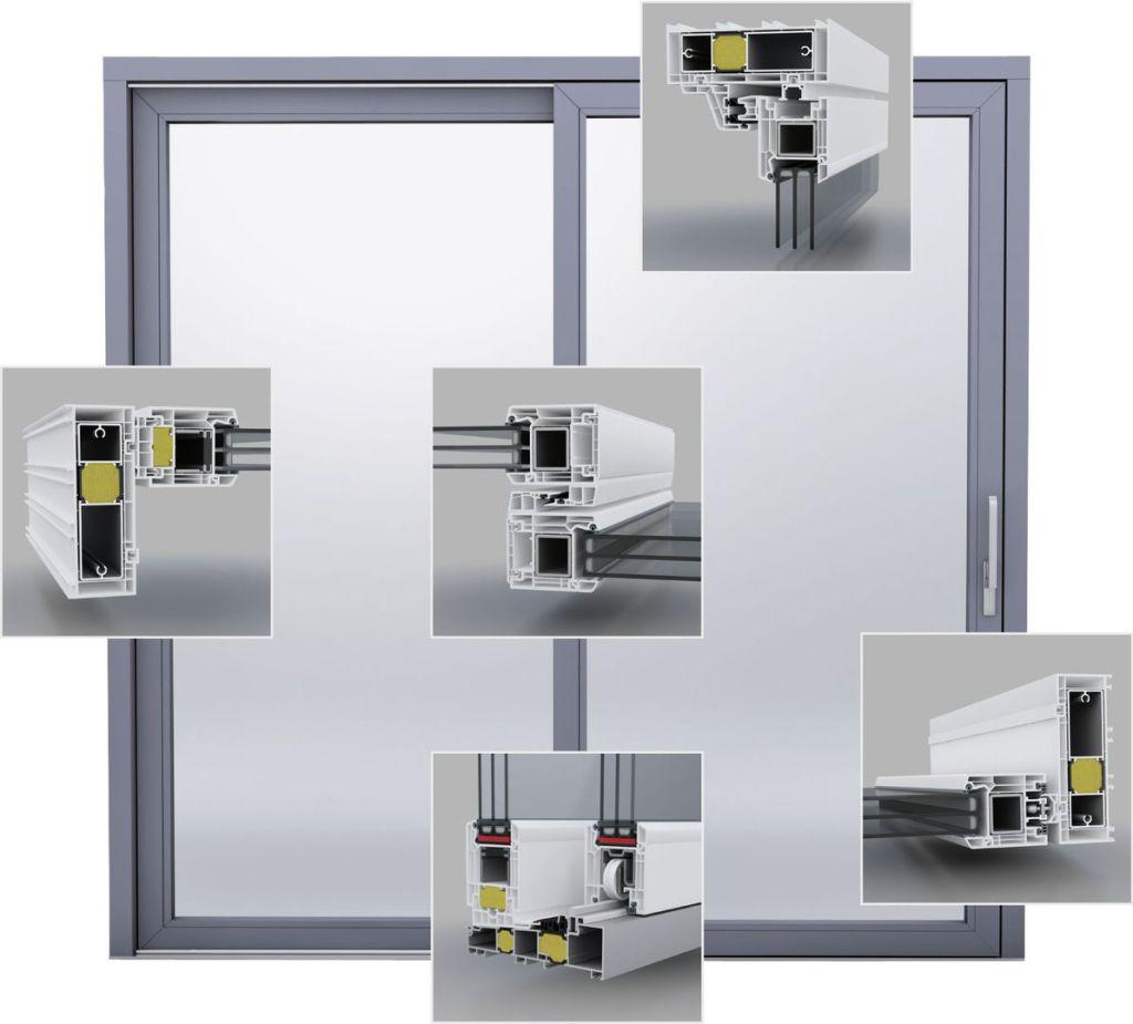 HSCH-Tür Quinline 74 Querschnitte, Profilschnitte, Bauteile, Komponenten